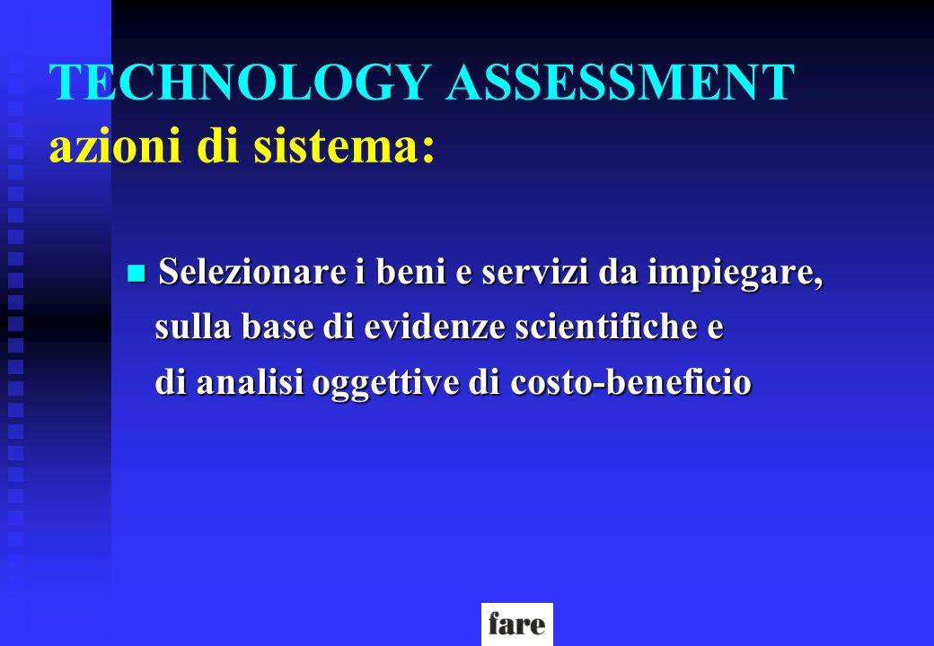 TECHNOLOGY ASSESSMENT azioni di sistema: n Selezionare i beni e servizi da impiegare, sulla base di evidenze scientifiche e sulla base di evidenze sci