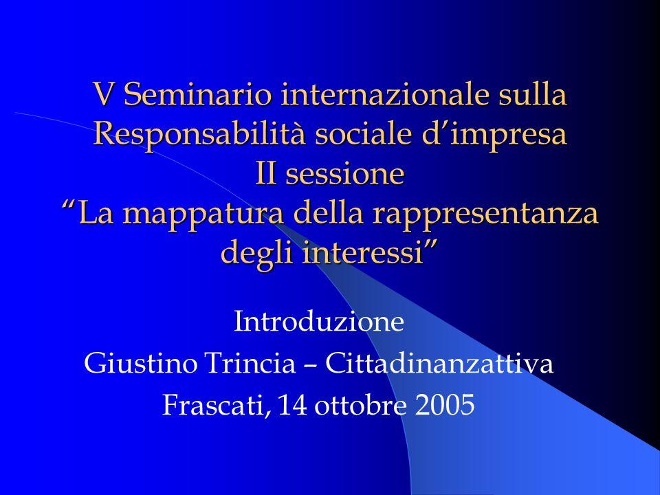 V Seminario internazionale sulla Responsabilità sociale dimpresa II sessione La mappatura della rappresentanza degli interessi Introduzione Giustino Trincia – Cittadinanzattiva Frascati, 14 ottobre 2005