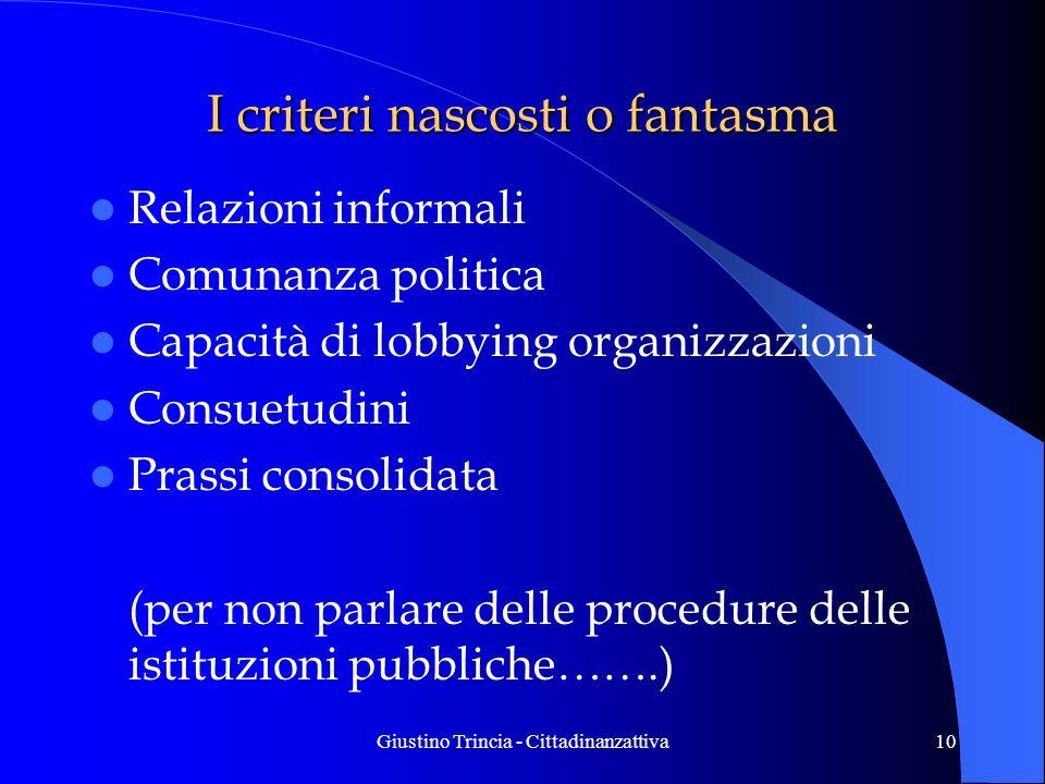 Giustino Trincia - Cittadinanzattiva10 I criteri nascosti o fantasma Relazioni informali Comunanza politica Capacità di lobbying organizzazioni Consue