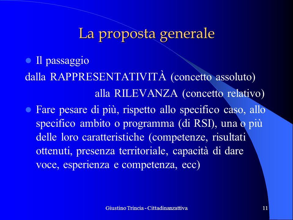 Giustino Trincia - Cittadinanzattiva11 La proposta generale Il passaggio dalla RAPPRESENTATIVITÀ (concetto assoluto) alla RILEVANZA (concetto relativo