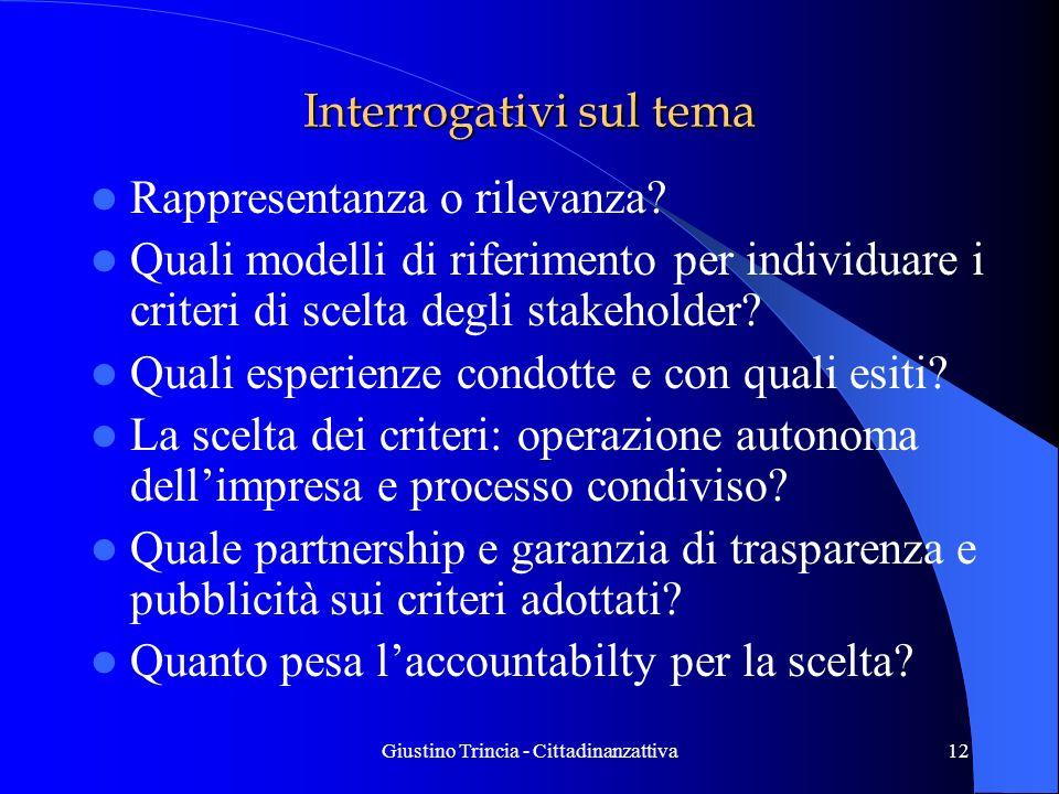 Giustino Trincia - Cittadinanzattiva12 Interrogativi sul tema Rappresentanza o rilevanza? Quali modelli di riferimento per individuare i criteri di sc