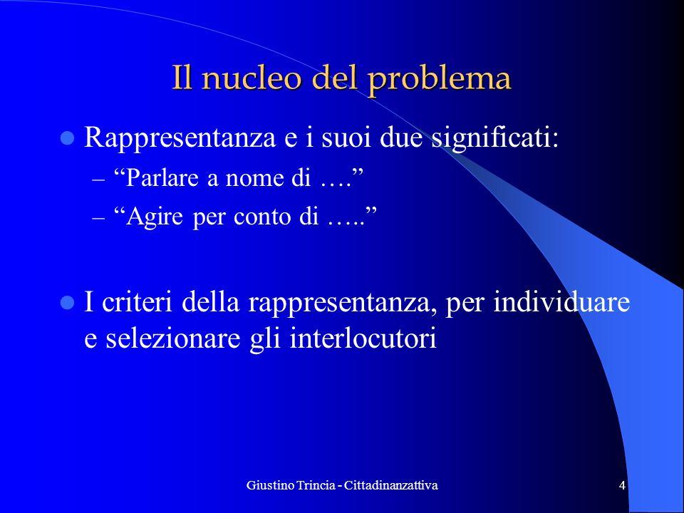 Giustino Trincia - Cittadinanzattiva4 Il nucleo del problema Rappresentanza e i suoi due significati: – Parlare a nome di …. – Agire per conto di …..