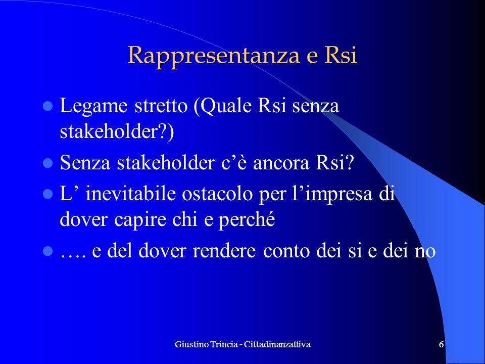 Giustino Trincia - Cittadinanzattiva6 Rappresentanza e Rsi Legame stretto (Quale Rsi senza stakeholder?) Senza stakeholder cè ancora Rsi? L inevitabil