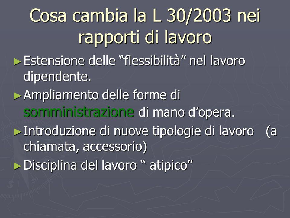 Cosa cambia la L 30/2003 nei rapporti di lavoro Estensione delle flessibilità nel lavoro dipendente.