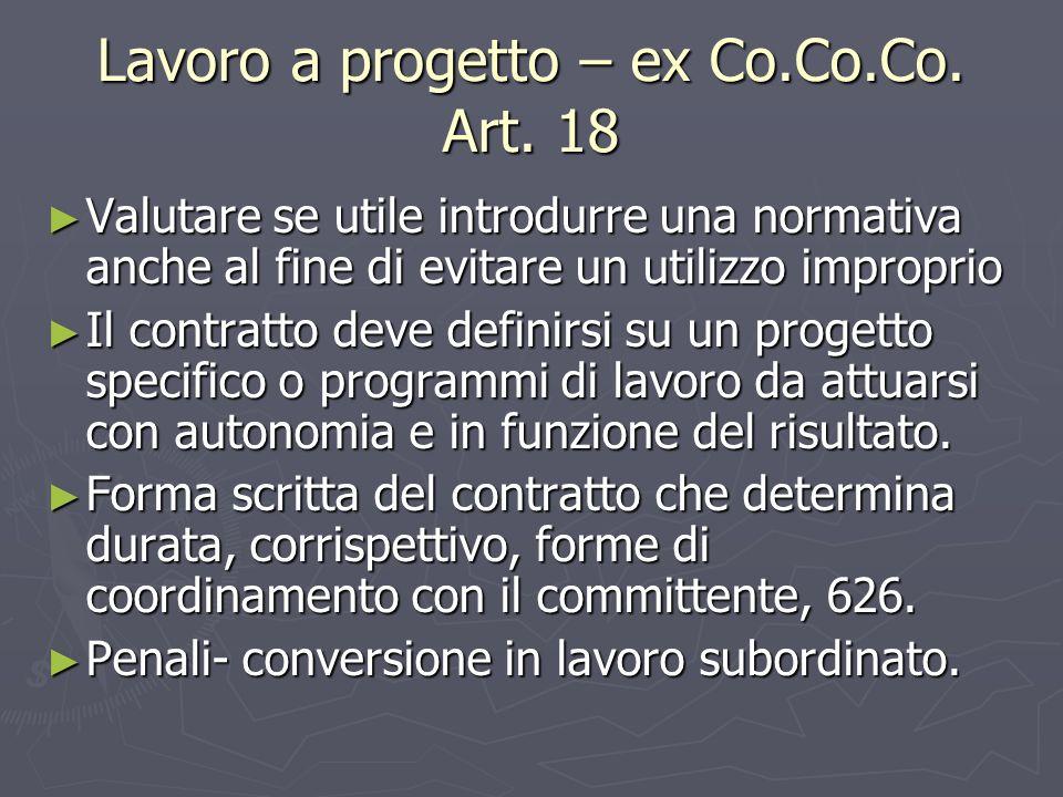 Lavoro a progetto – ex Co.Co.Co.Art.