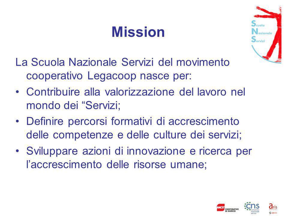 Vision Essere riferimento nazionale per le azioni di ricerca e la progettazione di percorsi formativi rivolti alle cooperative di servizi.