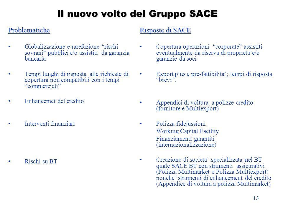 13 Il nuovo volto del Gruppo SACE Problematiche Globalizzazione e rarefazione rischi sovrani pubblici e/o assistiti da garanzia bancaria Tempi lunghi