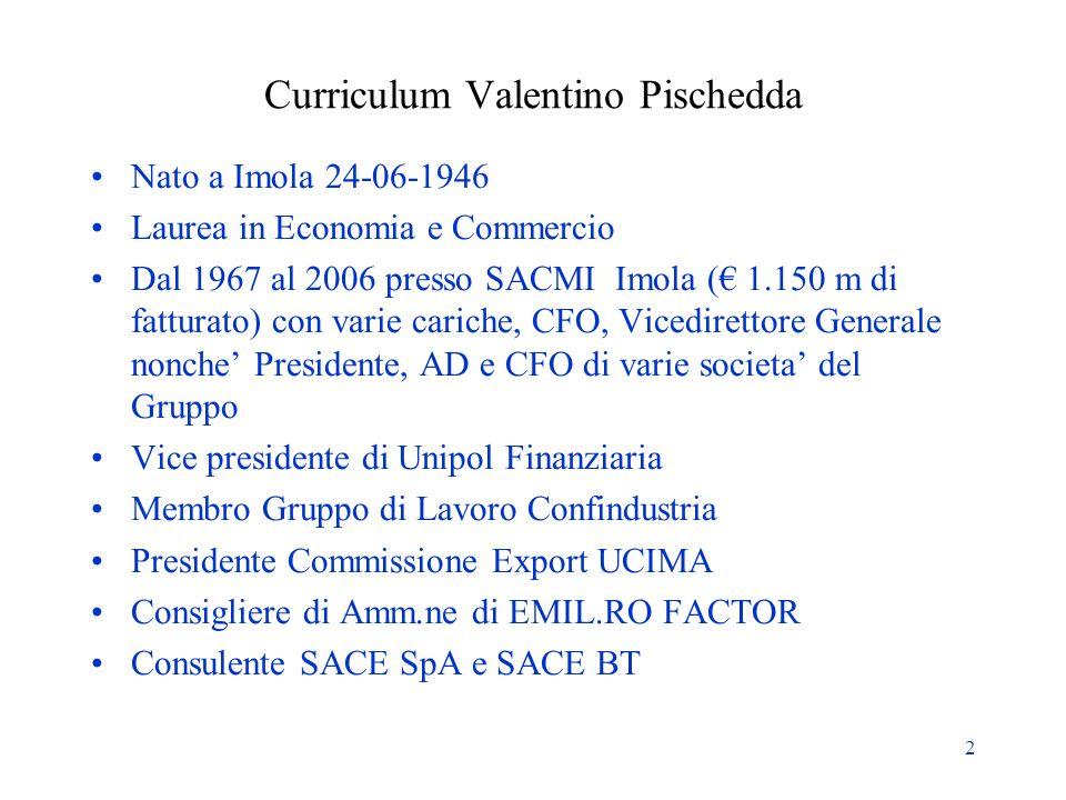 2 Curriculum Valentino Pischedda Nato a Imola 24-06-1946 Laurea in Economia e Commercio Dal 1967 al 2006 presso SACMI Imola ( 1.150 m di fatturato) co
