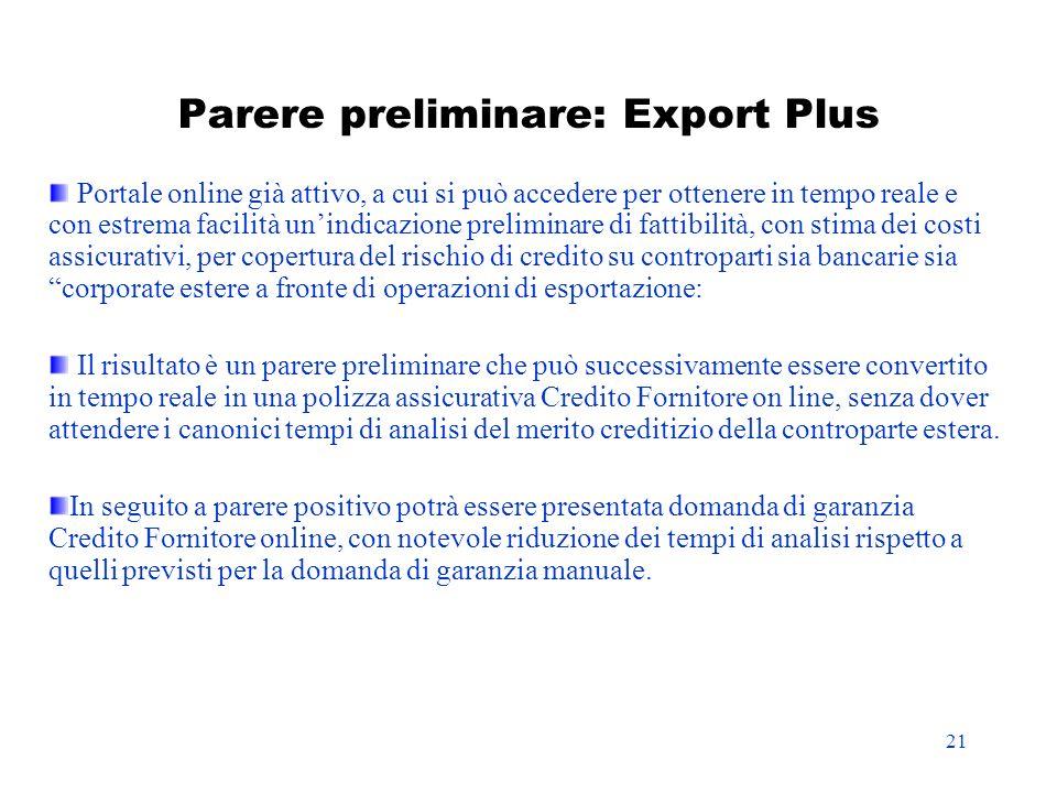 21 Parere preliminare: Export Plus Portale online già attivo, a cui si può accedere per ottenere in tempo reale e con estrema facilità unindicazione p