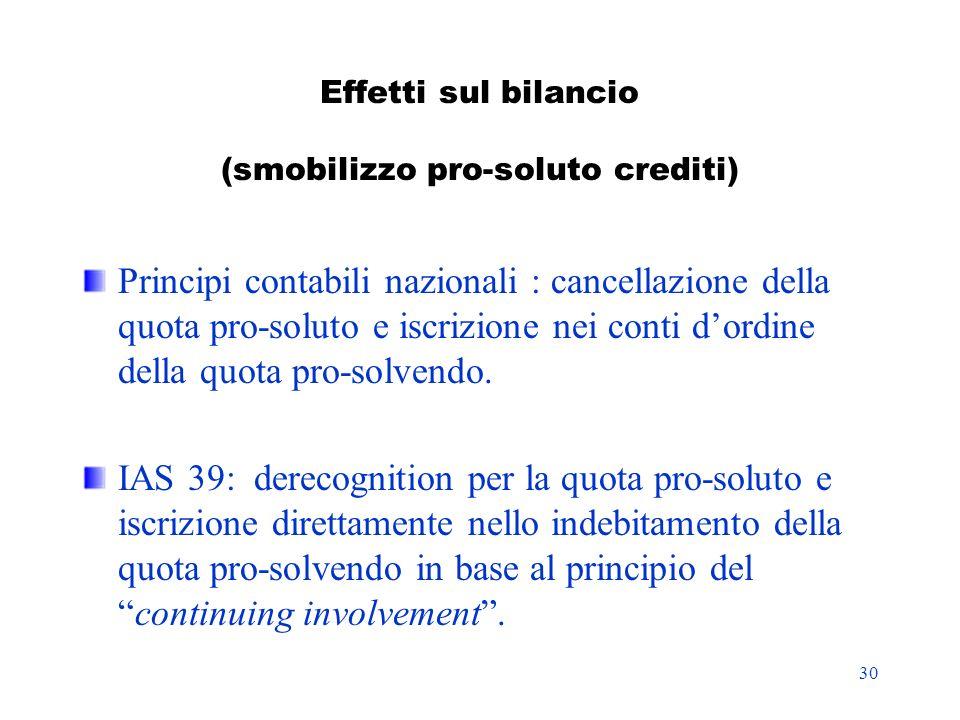 30 Effetti sul bilancio (smobilizzo pro-soluto crediti) Principi contabili nazionali : cancellazione della quota pro-soluto e iscrizione nei conti dor