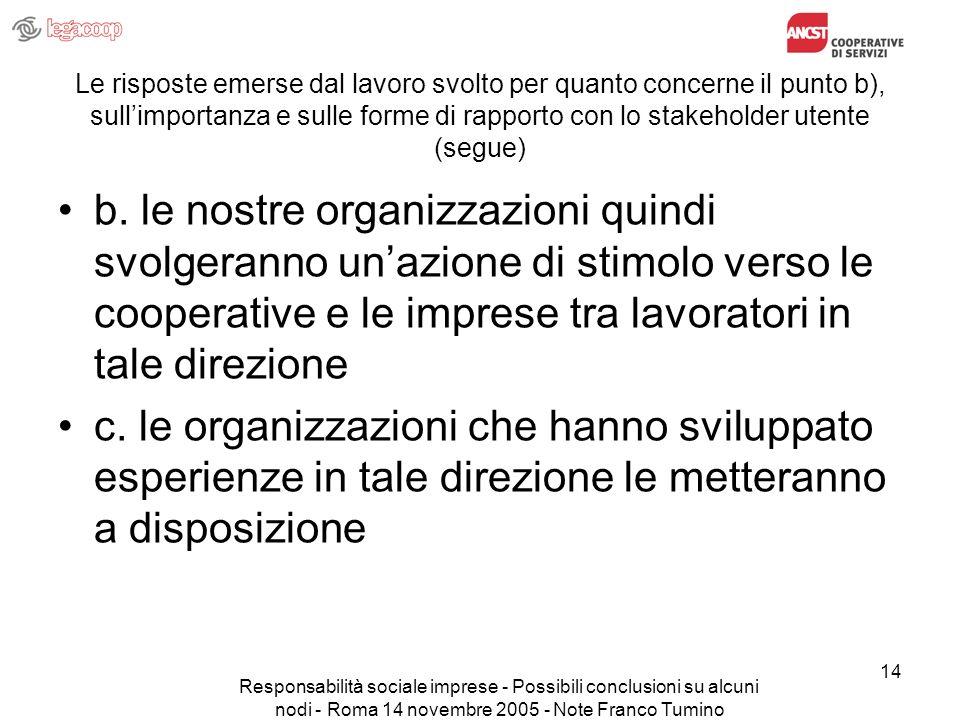 Responsabilità sociale imprese - Possibili conclusioni su alcuni nodi - Roma 14 novembre 2005 - Note Franco Tumino 14 Le risposte emerse dal lavoro svolto per quanto concerne il punto b), sullimportanza e sulle forme di rapporto con lo stakeholder utente (segue) b.
