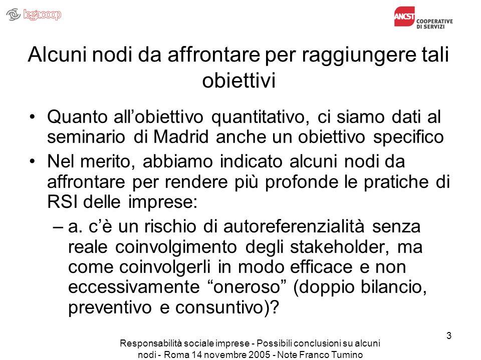 Responsabilità sociale imprese - Possibili conclusioni su alcuni nodi - Roma 14 novembre 2005 - Note Franco Tumino 4 Alcuni nodi da affrontare per raggiungere tali obiettivi (segue) –b.