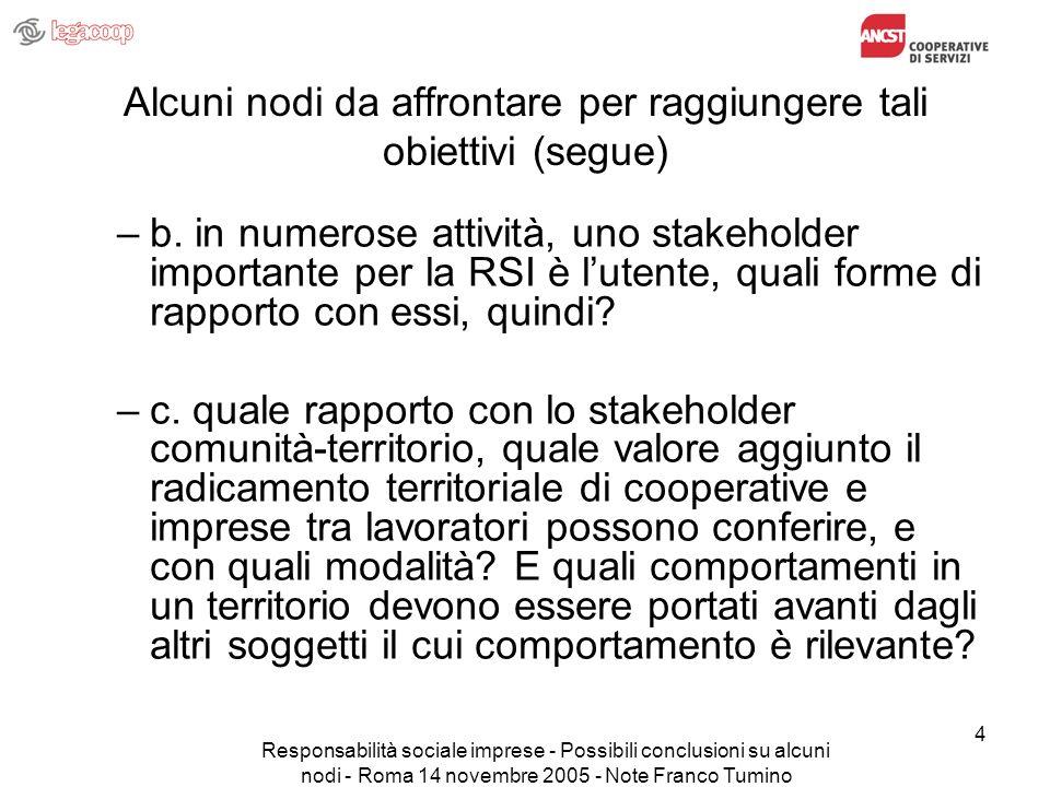 Responsabilità sociale imprese - Possibili conclusioni su alcuni nodi - Roma 14 novembre 2005 - Note Franco Tumino 15 Le risposte emerse dal lavoro svolto per quanto concerne il punto b), sullimportanza e sulle forme di rapporto con lo stakeholder utente (segue) d.