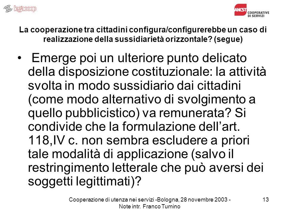 Cooperazione di utenza nei servizi -Bologna, 28 novembre 2003 - Note intr.