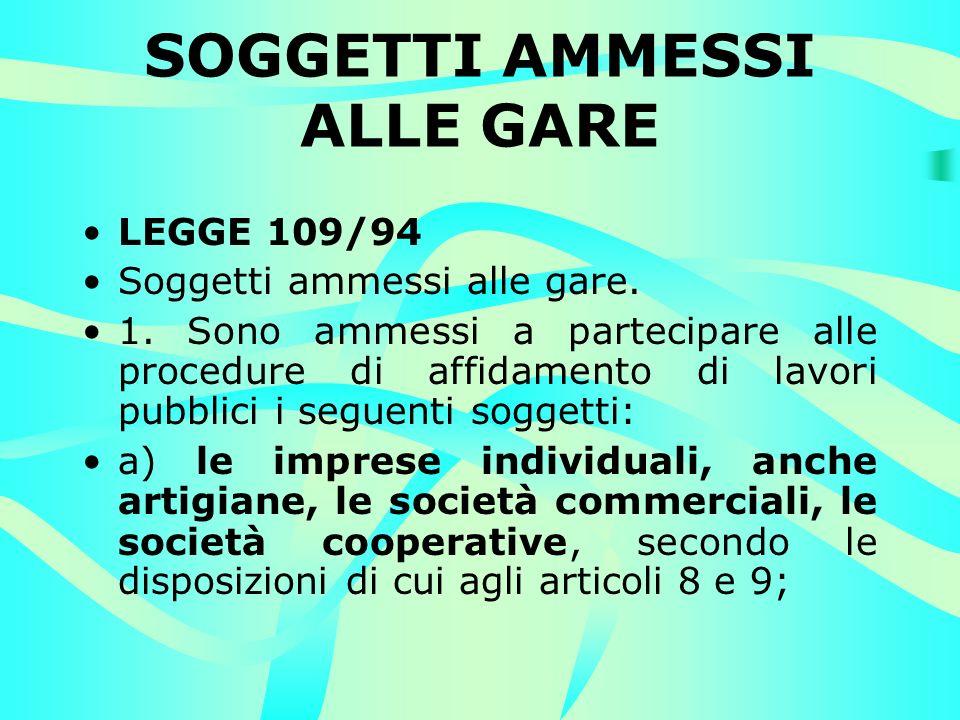 SOGGETTI AMMESSI ALLE GARE LEGGE 109/94 Soggetti ammessi alle gare.
