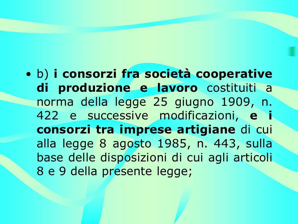 b) i consorzi fra società cooperative di produzione e lavoro costituiti a norma della legge 25 giugno 1909, n.