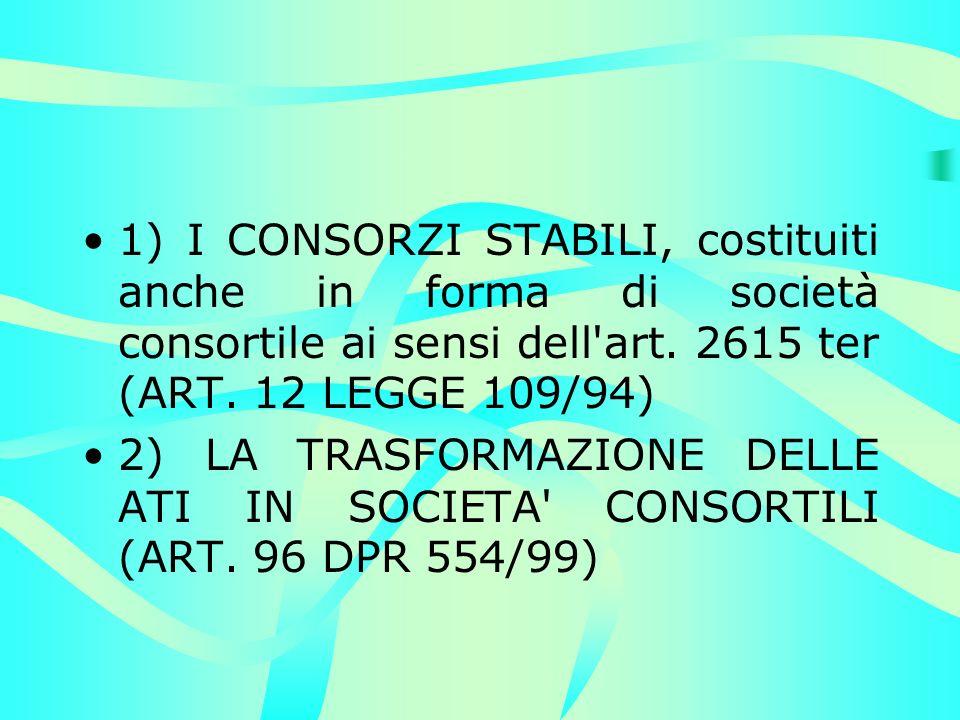 1) I CONSORZI STABILI, costituiti anche in forma di società consortile ai sensi dell art.