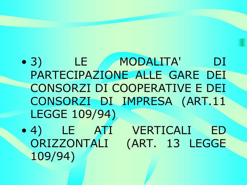 3) LE MODALITA DI PARTECIPAZIONE ALLE GARE DEI CONSORZI DI COOPERATIVE E DEI CONSORZI DI IMPRESA (ART.11 LEGGE 109/94) 4) LE ATI VERTICALI ED ORIZZONTALI (ART.