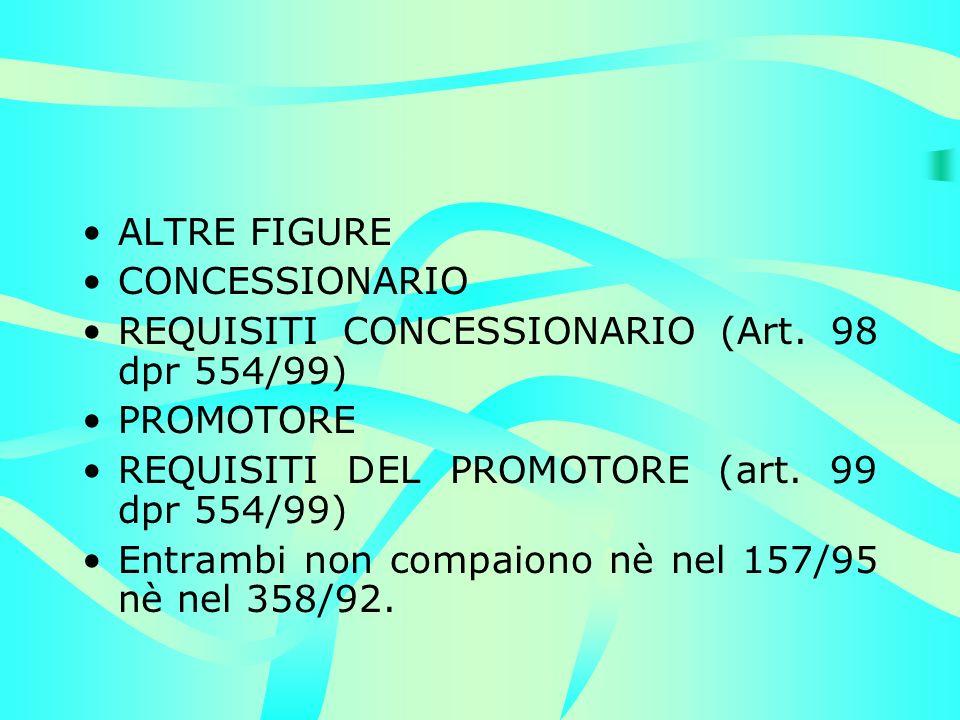 ALTRE FIGURE CONCESSIONARIO REQUISITI CONCESSIONARIO (Art. 98 dpr 554/99) PROMOTORE REQUISITI DEL PROMOTORE (art. 99 dpr 554/99) Entrambi non compaion
