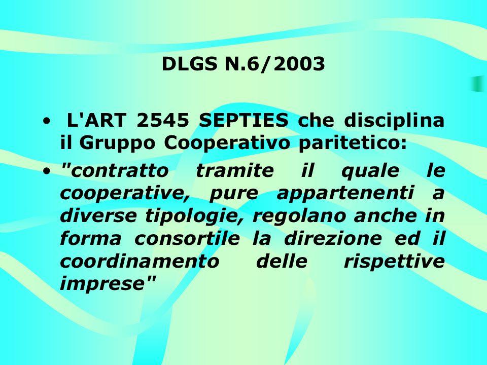 DLGS N.6/2003 L ART 2545 SEPTIES che disciplina il Gruppo Cooperativo paritetico: contratto tramite il quale le cooperative, pure appartenenti a diverse tipologie, regolano anche in forma consortile la direzione ed il coordinamento delle rispettive imprese