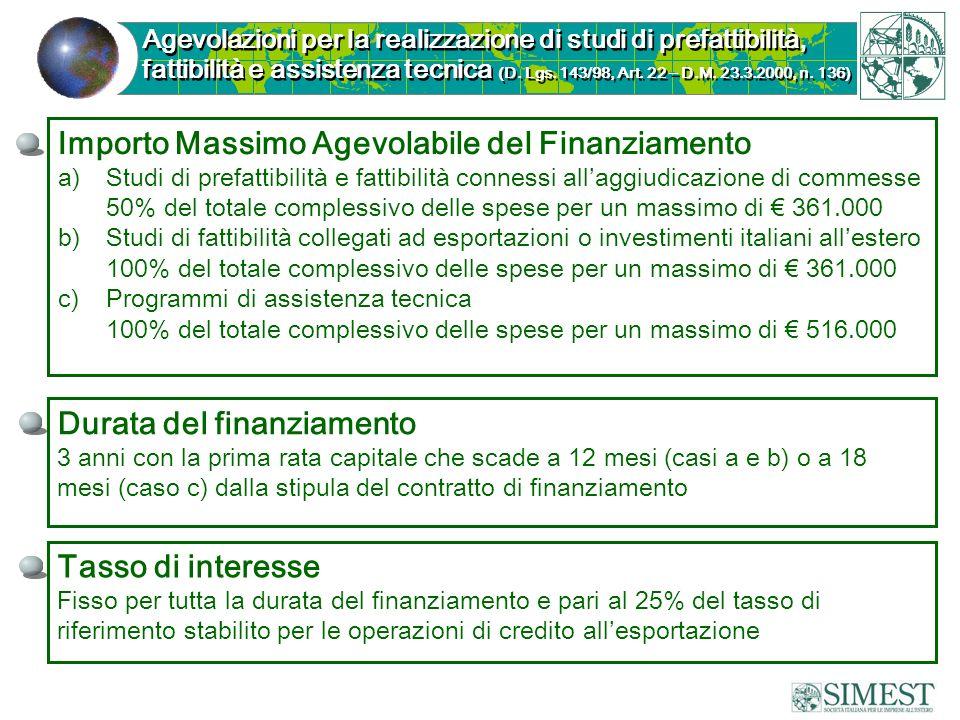 Importo Massimo Agevolabile del Finanziamento a)Studi di prefattibilità e fattibilità connessi allaggiudicazione di commesse 50% del totale complessiv