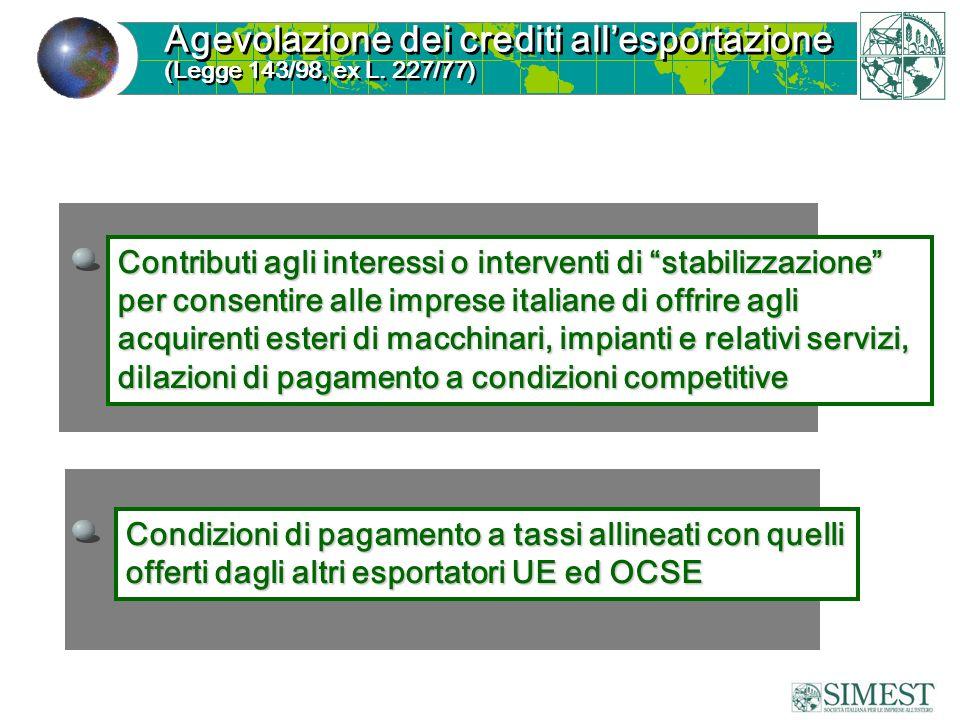 Contributi agli interessi o interventi di stabilizzazione per consentire alle imprese italiane di offrire agli acquirenti esteri di macchinari, impian