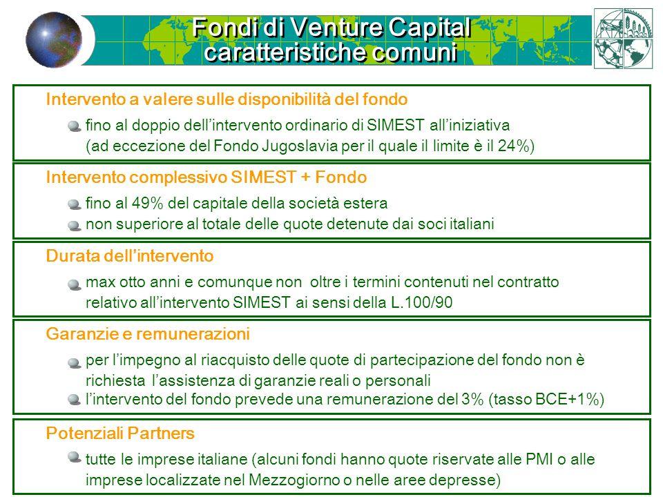 Fondi di Venture Capital caratteristiche comuni Fondi di Venture Capital caratteristiche comuni Intervento a valere sulle disponibilità del fondo fino