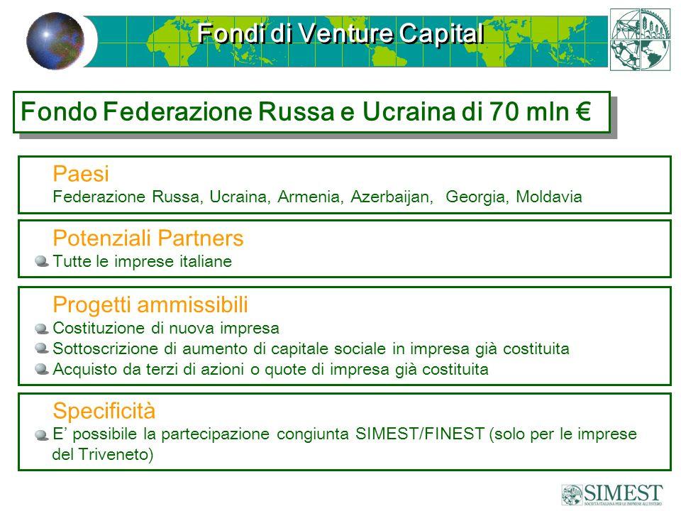 Fondi di Venture Capital Paesi Federazione Russa, Ucraina, Armenia, Azerbaijan, Georgia, Moldavia Progetti ammissibili Costituzione di nuova impresa S