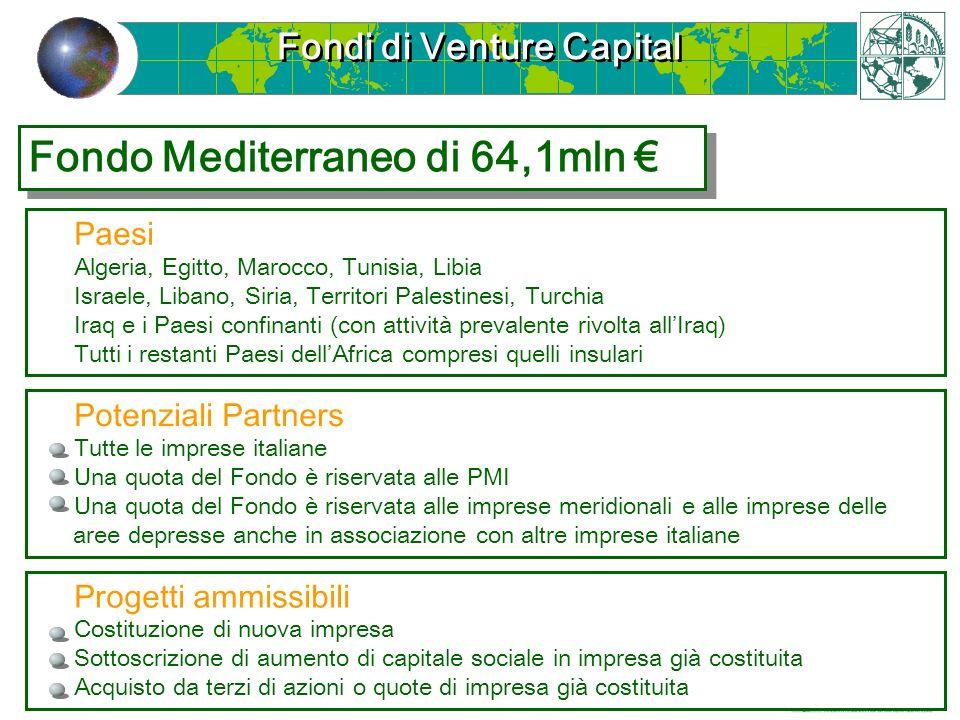 Fondi di Venture Capital Paesi Algeria, Egitto, Marocco, Tunisia, Libia Israele, Libano, Siria, Territori Palestinesi, Turchia Iraq e i Paesi confinan