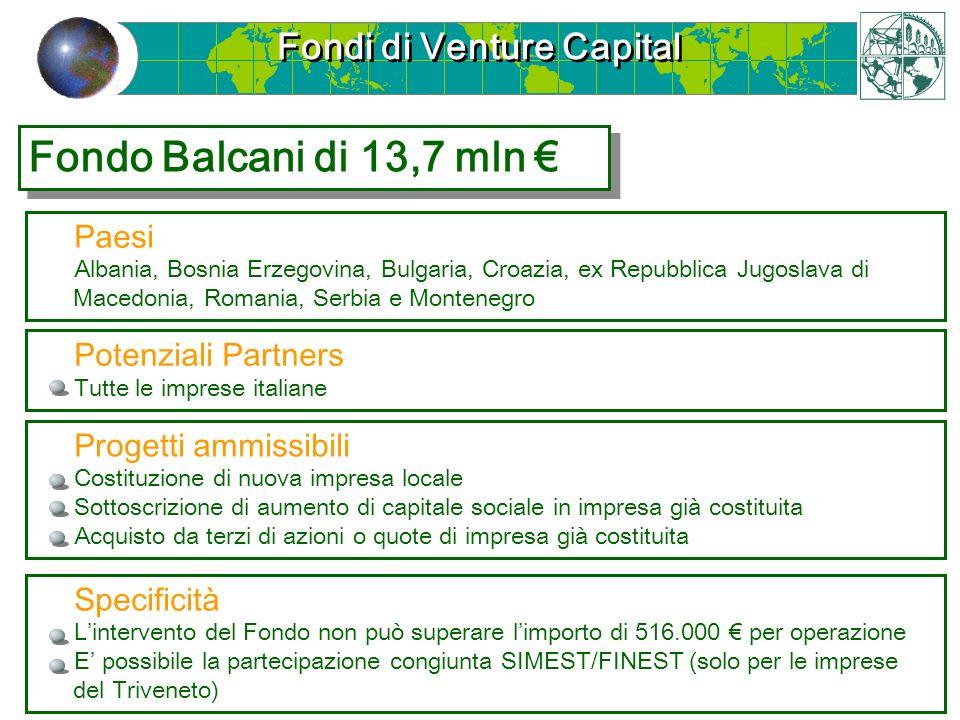 Fondi di Venture Capital Fondo Balcani di 13,7 mln Paesi Albania, Bosnia Erzegovina, Bulgaria, Croazia, ex Repubblica Jugoslava di Macedonia, Romania,
