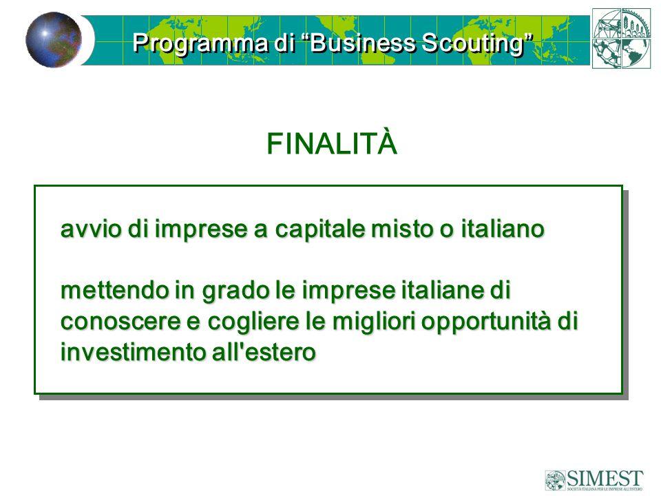 Programma di Business Scouting FINALITÀ avvio di imprese a capitale misto o italiano mettendo in grado le imprese italiane di conoscere e cogliere le