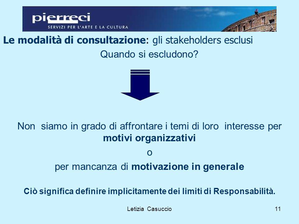 Letizia Casuccio11 Le modalità di consultazione: gli stakeholders esclusi Quando si escludono.