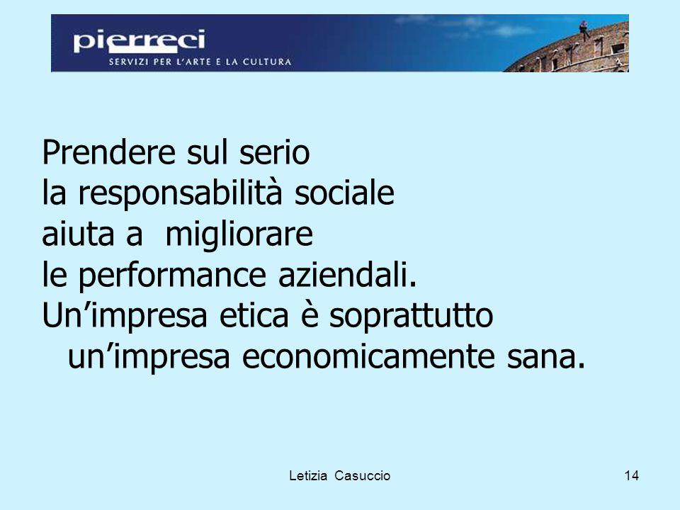 Letizia Casuccio14 Prendere sul serio la responsabilità sociale aiuta a migliorare le performance aziendali.
