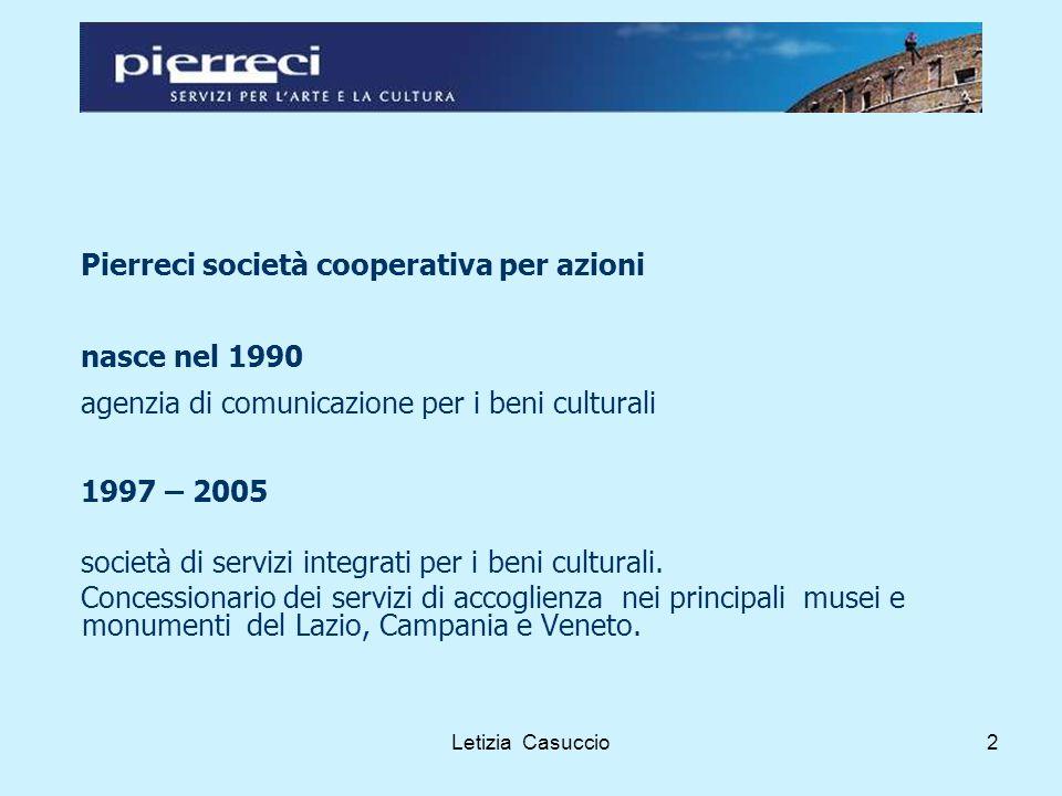 Letizia Casuccio2 Pierreci società cooperativa per azioni nasce nel 1990 agenzia di comunicazione per i beni culturali 1997 – 2005 società di servizi integrati per i beni culturali.