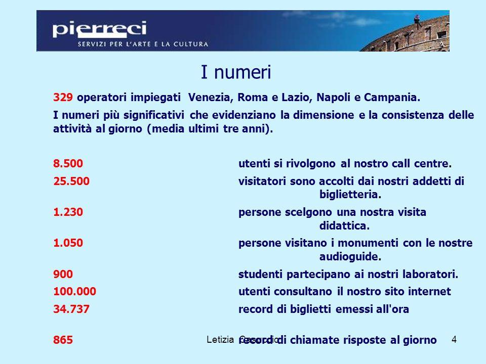 Letizia Casuccio4 I numeri 329 operatori impiegati Venezia, Roma e Lazio, Napoli e Campania.