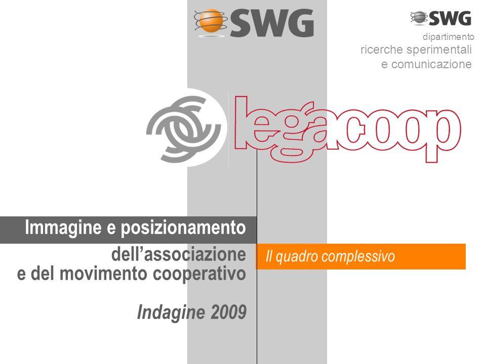 dipartimento ricerche sperimentali e comunicazione Immagine e posizionamento dellassociazione e del movimento cooperativo Indagine 2009 Il quadro complessivo