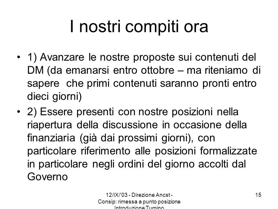 12/IX/'03 - Direzione Ancst - Consip: rimessa a punto posizione Introduzione Tumino 15 I nostri compiti ora 1) Avanzare le nostre proposte sui contenu