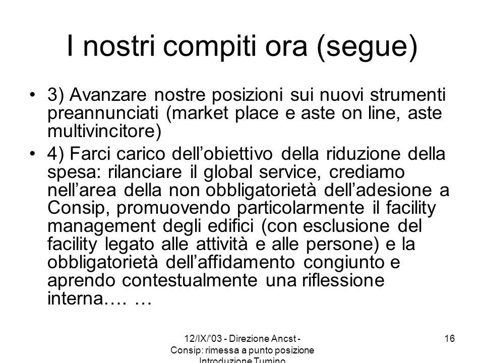 12/IX/'03 - Direzione Ancst - Consip: rimessa a punto posizione Introduzione Tumino 16 I nostri compiti ora (segue) 3) Avanzare nostre posizioni sui n