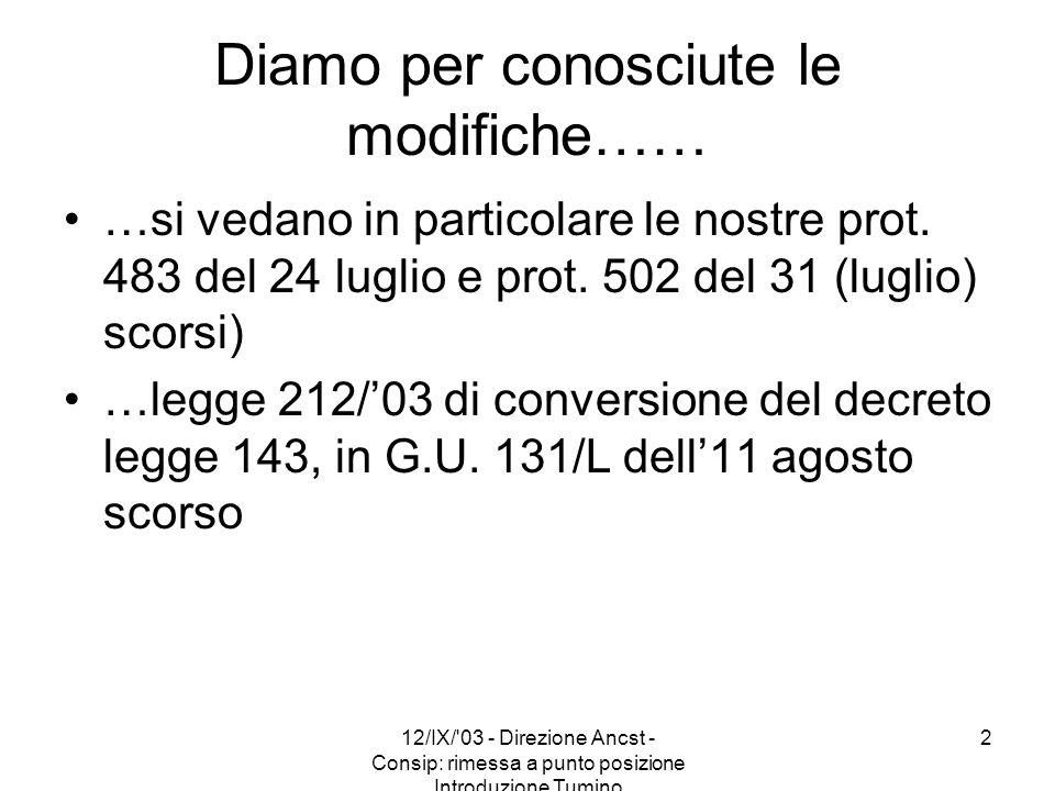 12/IX/'03 - Direzione Ancst - Consip: rimessa a punto posizione Introduzione Tumino 2 Diamo per conosciute le modifiche…… …si vedano in particolare le