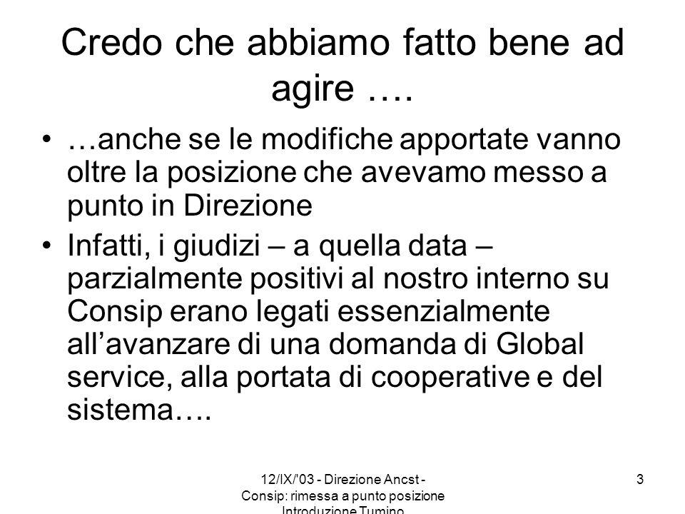 12/IX/'03 - Direzione Ancst - Consip: rimessa a punto posizione Introduzione Tumino 3 Credo che abbiamo fatto bene ad agire …. …anche se le modifiche