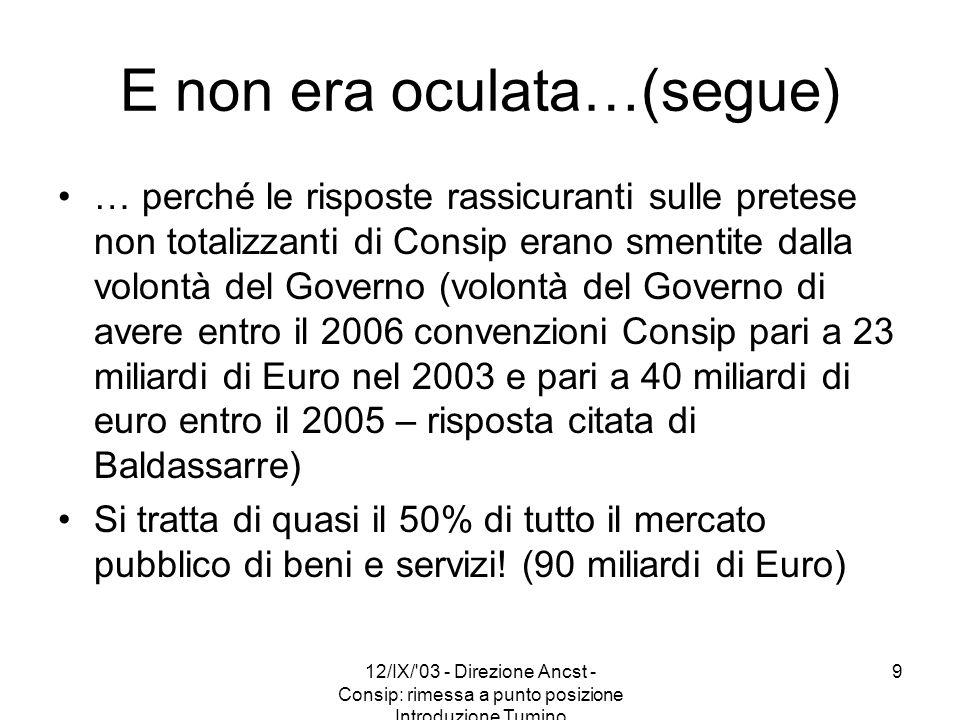 12/IX/'03 - Direzione Ancst - Consip: rimessa a punto posizione Introduzione Tumino 9 E non era oculata…(segue) … perché le risposte rassicuranti sull