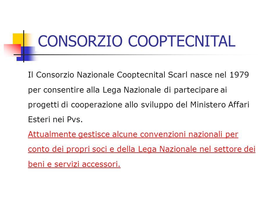 Il Consorzio Nazionale Cooptecnital Scarl nasce nel 1979 per consentire alla Lega Nazionale di partecipare ai progetti di cooperazione allo sviluppo del Ministero Affari Esteri nei Pvs.