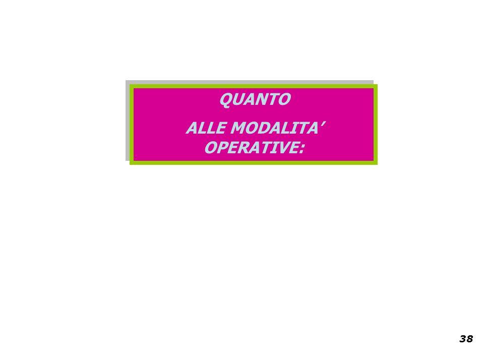38 QUANTO ALLE MODALITA OPERATIVE: QUANTO ALLE MODALITA OPERATIVE: