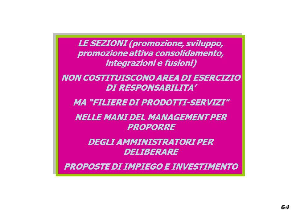 64 LE SEZIONI (promozione, sviluppo, promozione attiva consolidamento, integrazioni e fusioni) NON COSTITUISCONO AREA DI ESERCIZIO DI RESPONSABILITA MA FILIERE DI PRODOTTI-SERVIZI NELLE MANI DEL MANAGEMENT PER PROPORRE DEGLI AMMINISTRATORI PER DELIBERARE PROPOSTE DI IMPIEGO E INVESTIMENTO LE SEZIONI (promozione, sviluppo, promozione attiva consolidamento, integrazioni e fusioni) NON COSTITUISCONO AREA DI ESERCIZIO DI RESPONSABILITA MA FILIERE DI PRODOTTI-SERVIZI NELLE MANI DEL MANAGEMENT PER PROPORRE DEGLI AMMINISTRATORI PER DELIBERARE PROPOSTE DI IMPIEGO E INVESTIMENTO