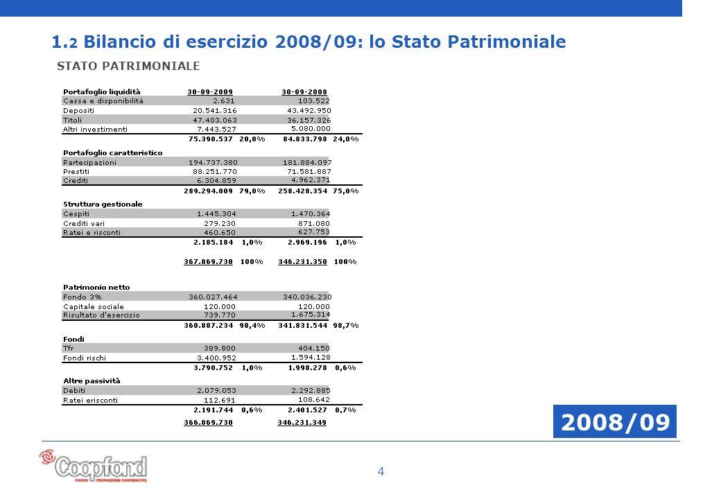 4 1. 2 Bilancio di esercizio 2008/09: lo Stato Patrimoniale STATO PATRIMONIALE 2008/09