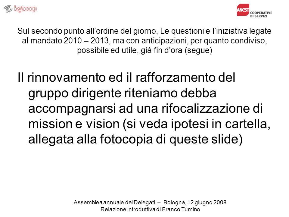 Sul secondo punto allordine del giorno, Le questioni e liniziativa legate al mandato 2010 – 2013, ma con anticipazioni, per quanto condiviso, possibile ed utile, già fin dora (segue) Il rinnovamento ed il rafforzamento del gruppo dirigente riteniamo debba accompagnarsi ad una rifocalizzazione di mission e vision (si veda ipotesi in cartella, allegata alla fotocopia di queste slide) Assemblea annuale dei Delegati – Bologna, 12 giugno 2008 Relazione introduttiva di Franco Tumino
