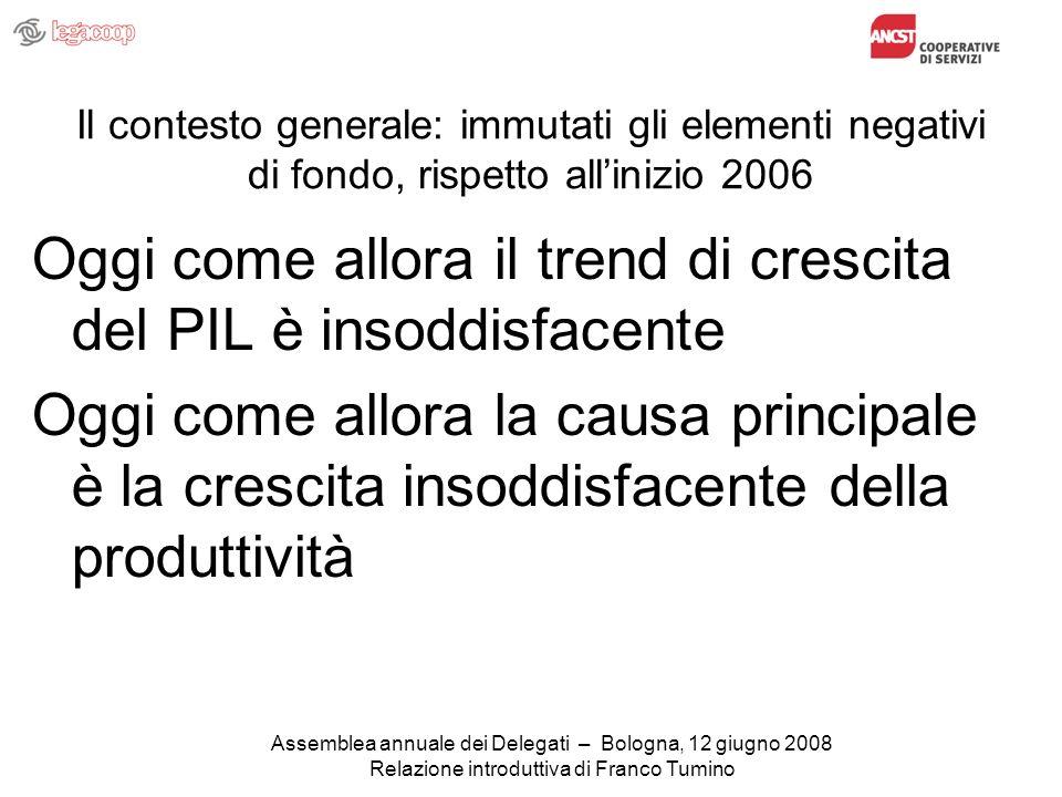 Assemblea annuale dei Delegati – Bologna, 12 giugno 2008 Relazione introduttiva di Franco Tumino Il contesto generale: immutati gli elementi negativi di fondo, rispetto allinizio 2006 Oggi come allora il trend di crescita del PIL è insoddisfacente Oggi come allora la causa principale è la crescita insoddisfacente della produttività