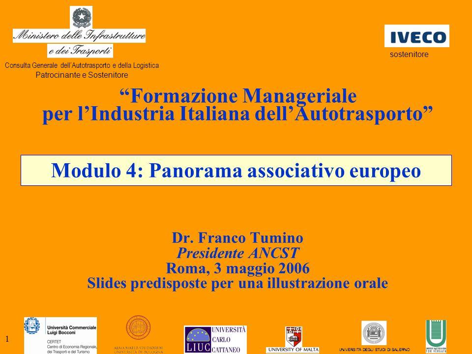 1 Modulo 4: Panorama associativo europeo Formazione Manageriale per lIndustria Italiana dellAutotrasporto Dr.