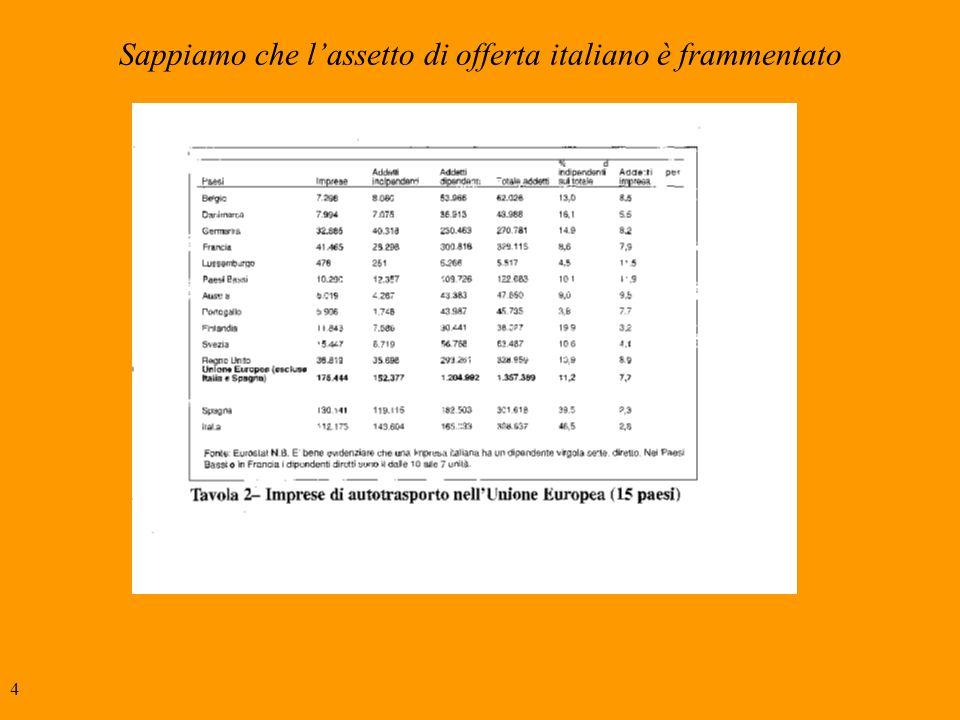4 Sappiamo che lassetto di offerta italiano è frammentato
