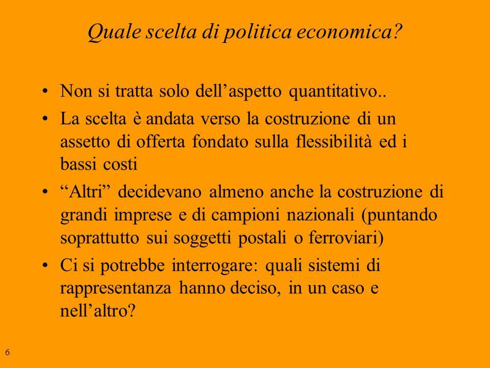 6 Quale scelta di politica economica. Non si tratta solo dellaspetto quantitativo..